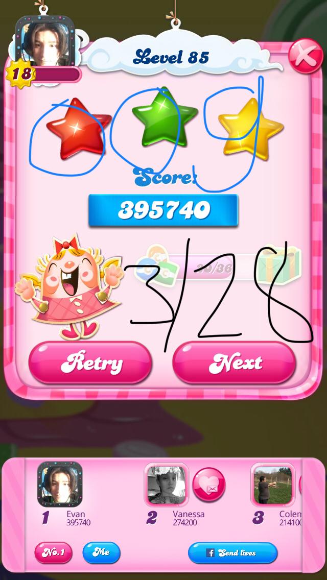 OOG: Candy Crush Saga: Level 085 (iOS) 395,740 points on 2018-03-28 17:00:06