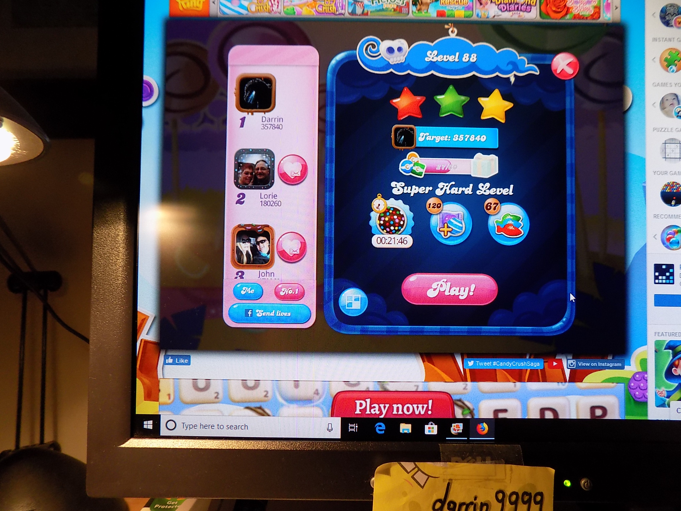 darrin9999: Candy Crush Saga: Level 088 (Web) 357,840 points on 2019-06-18 17:18:03