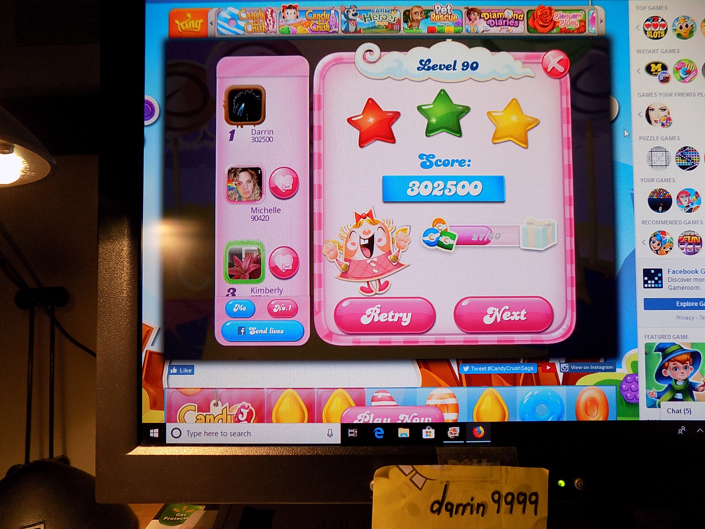 darrin9999: Candy Crush Saga: Level 090 (Web) 302,500 points on 2019-06-18 17:20:56