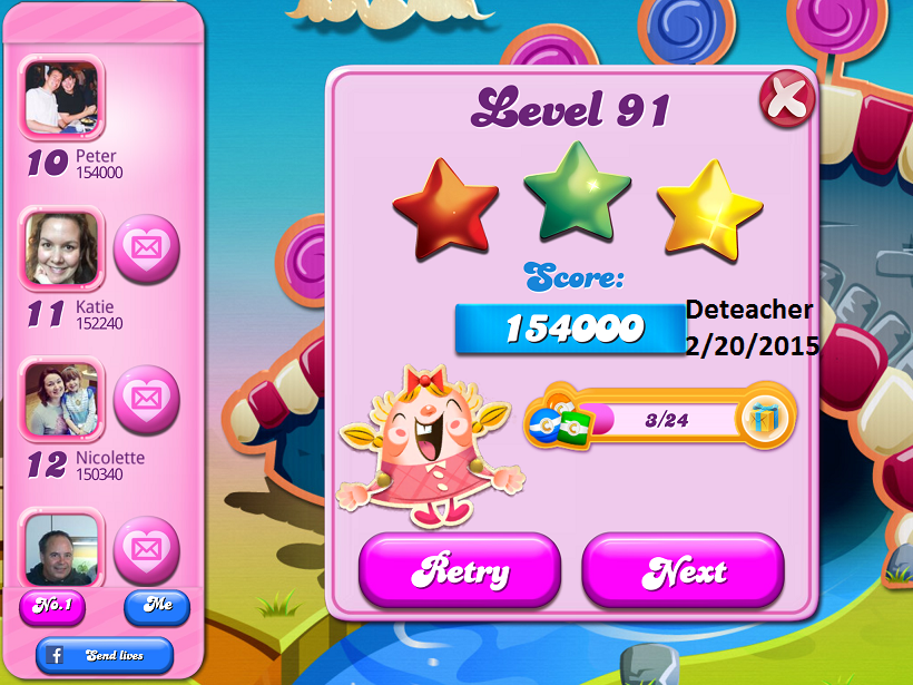 Deteacher: Candy Crush Saga: Level 091 (iOS) 154,000 points on 2015-06-20 15:24:26