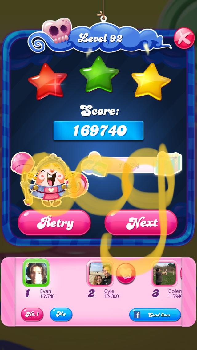 OOG: Candy Crush Saga: Level 092 (iOS) 169,740 points on 2018-02-17 21:40:30