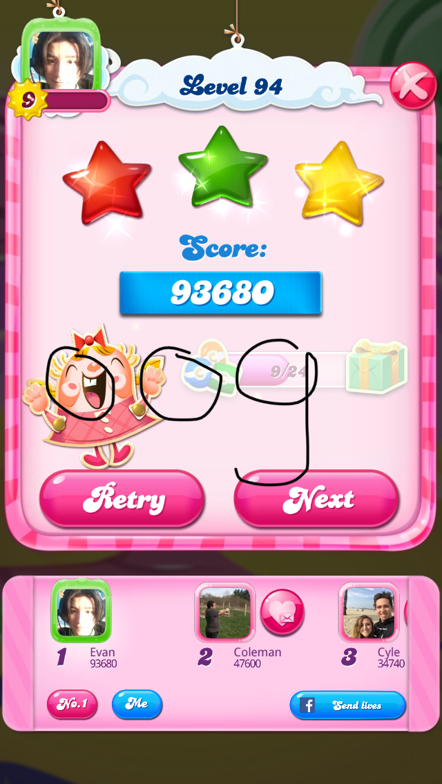 OOG: Candy Crush Saga: Level 094 (iOS) 93,680 points on 2018-02-17 21:35:27