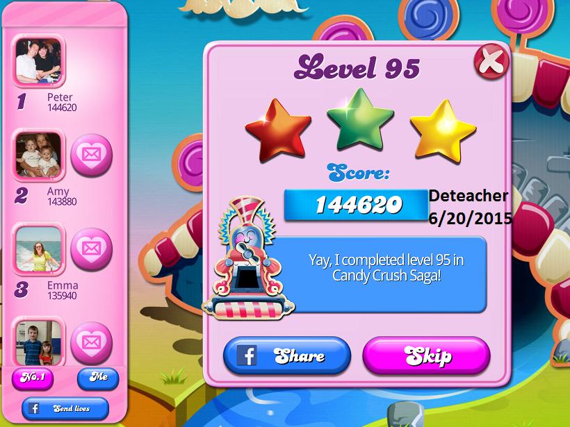 Deteacher: Candy Crush Saga: Level 095 (iOS) 144,620 points on 2015-06-20 15:43:16