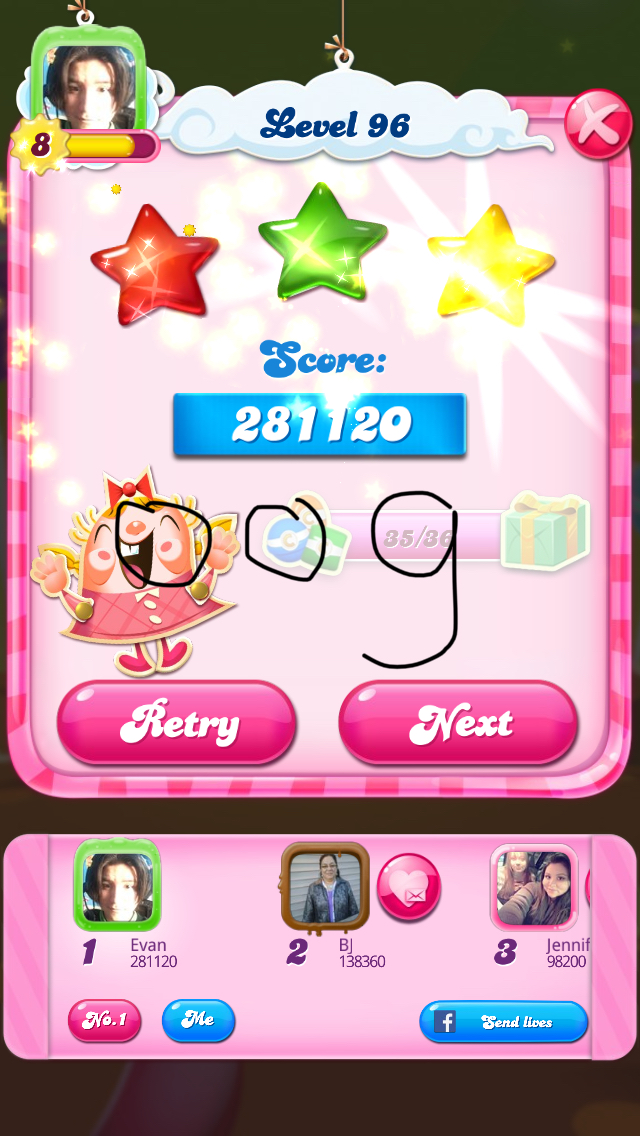 Candy Crush Saga: Level 096 281,120 points