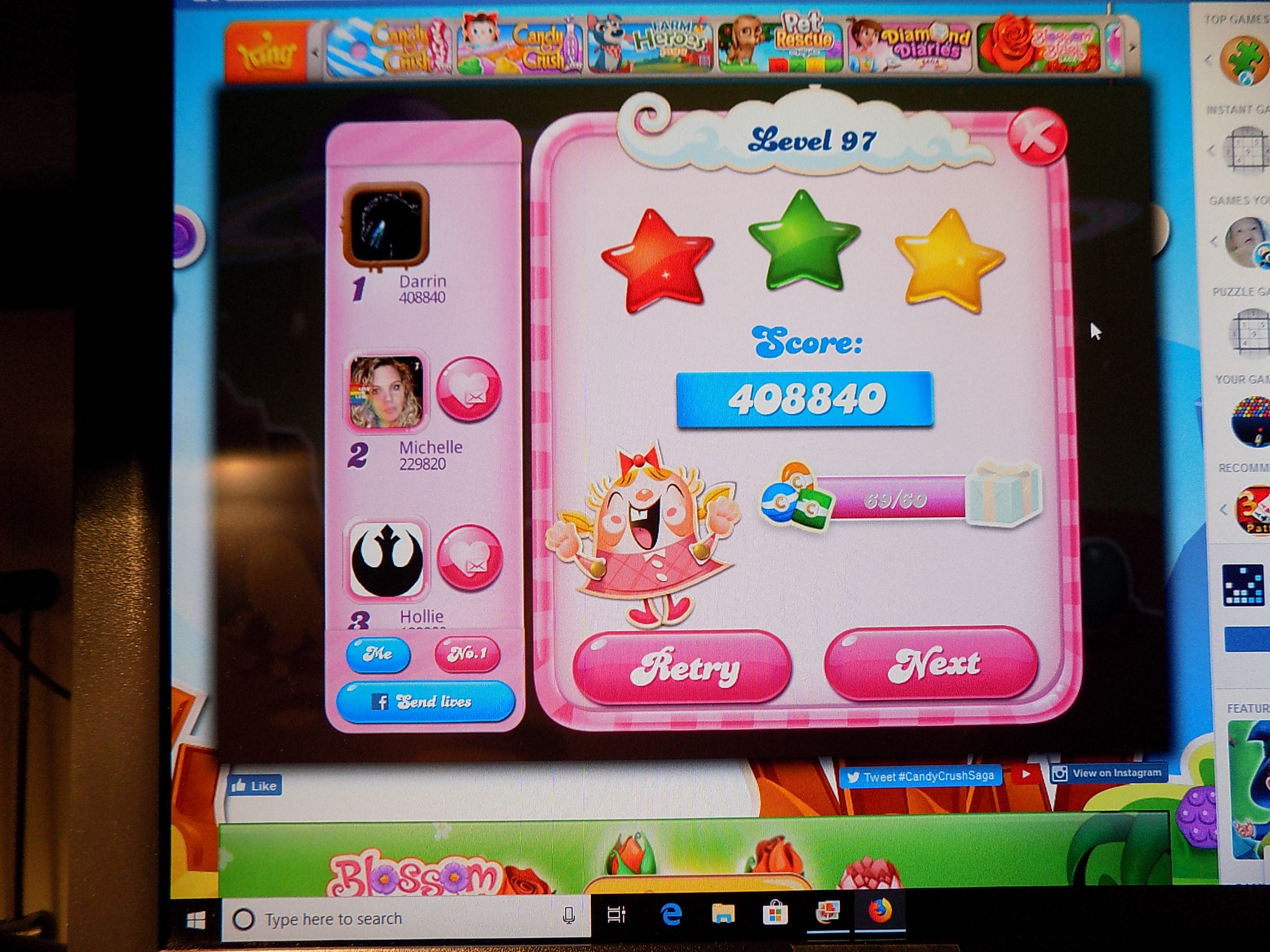 darrin9999: Candy Crush Saga: Level 097 (Web) 408,840 points on 2019-06-25 10:51:23