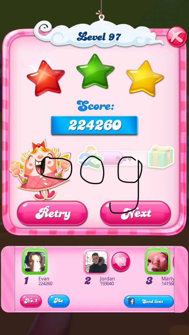 OOG: Candy Crush Saga: Level 097 (iOS) 224,260 points on 2018-02-17 21:00:27