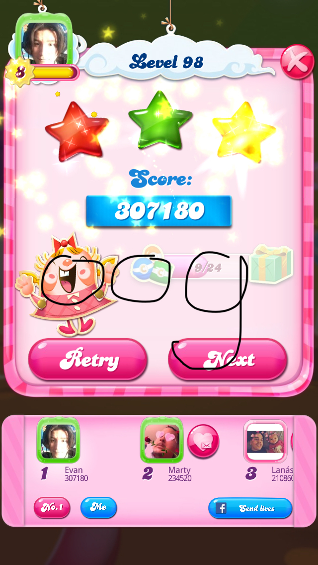 Candy Crush Saga: Level 098 307,180 points