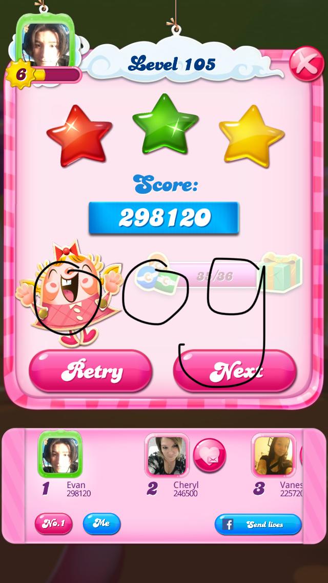 OOG: Candy Crush Saga: Level 105 (iOS) 298,120 points on 2018-02-13 01:00:06
