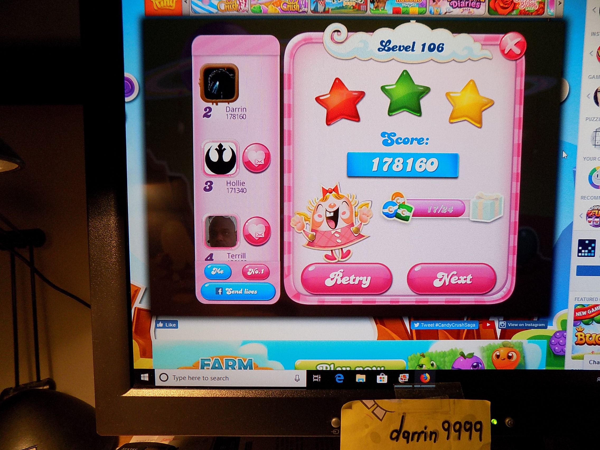 darrin9999: Candy Crush Saga: Level 106 (Web) 178,160 points on 2019-07-15 07:49:04