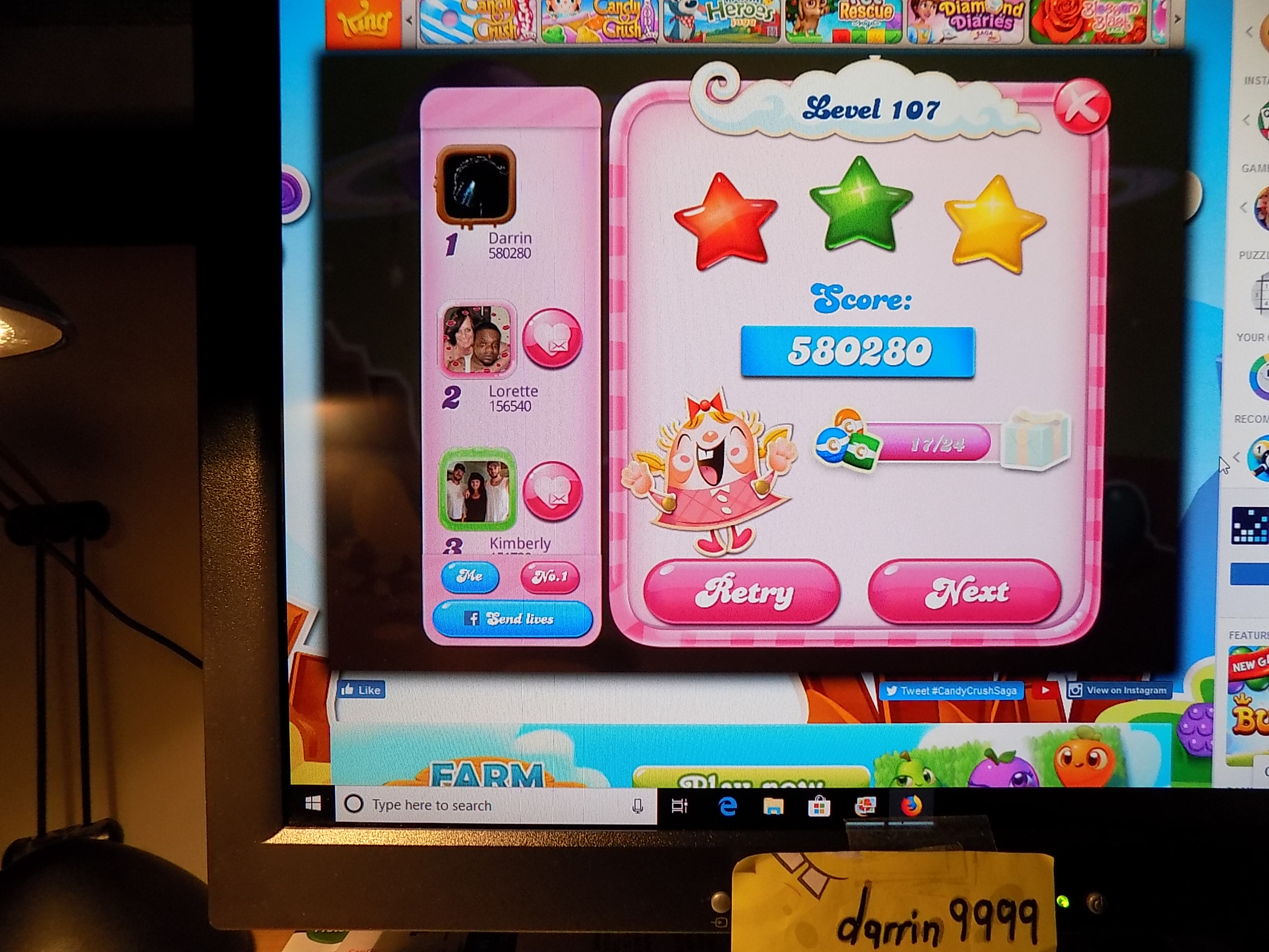darrin9999: Candy Crush Saga: Level 107 (Web) 580,280 points on 2019-07-15 07:50:04