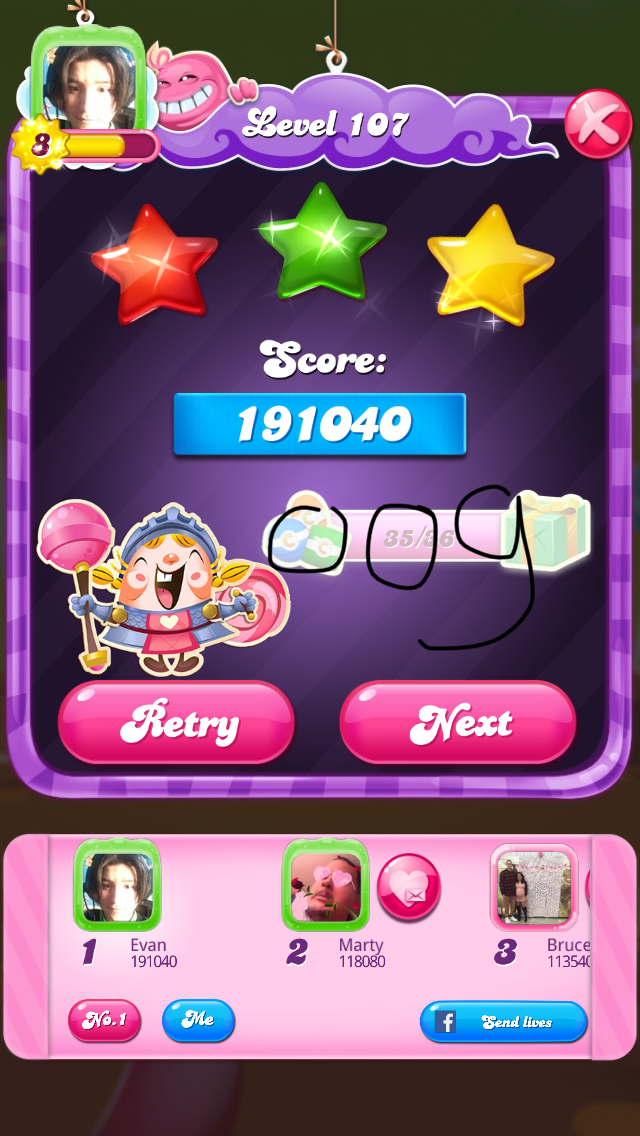 Candy Crush Saga: Level 107 191,040 points
