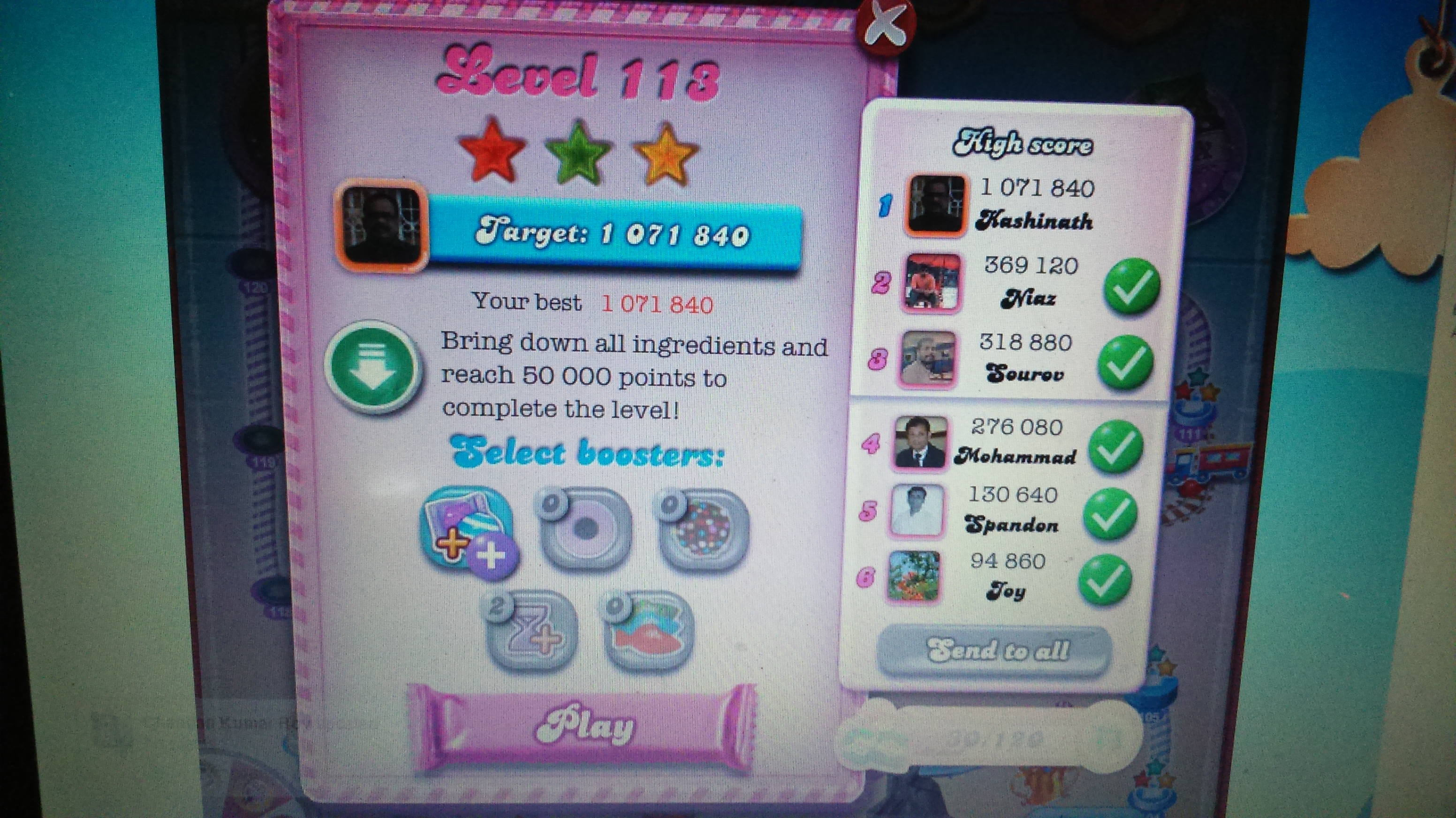 Candy Crush Saga: Level 113 1,071,840 points