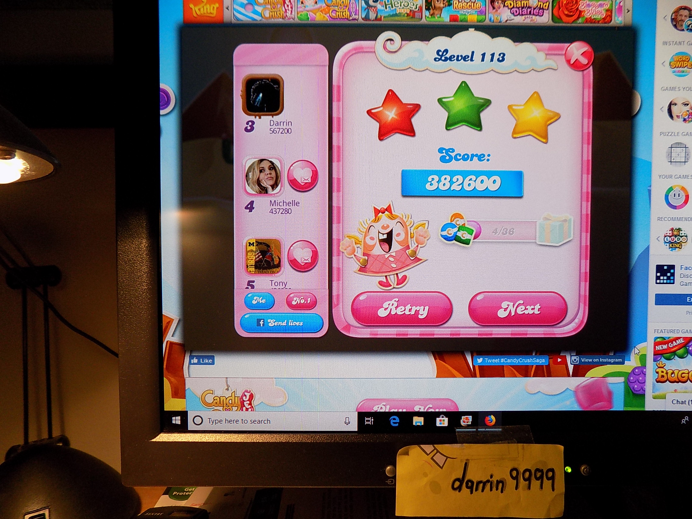darrin9999: Candy Crush Saga: Level 113 (Web) 382,600 points on 2019-07-15 07:56:01