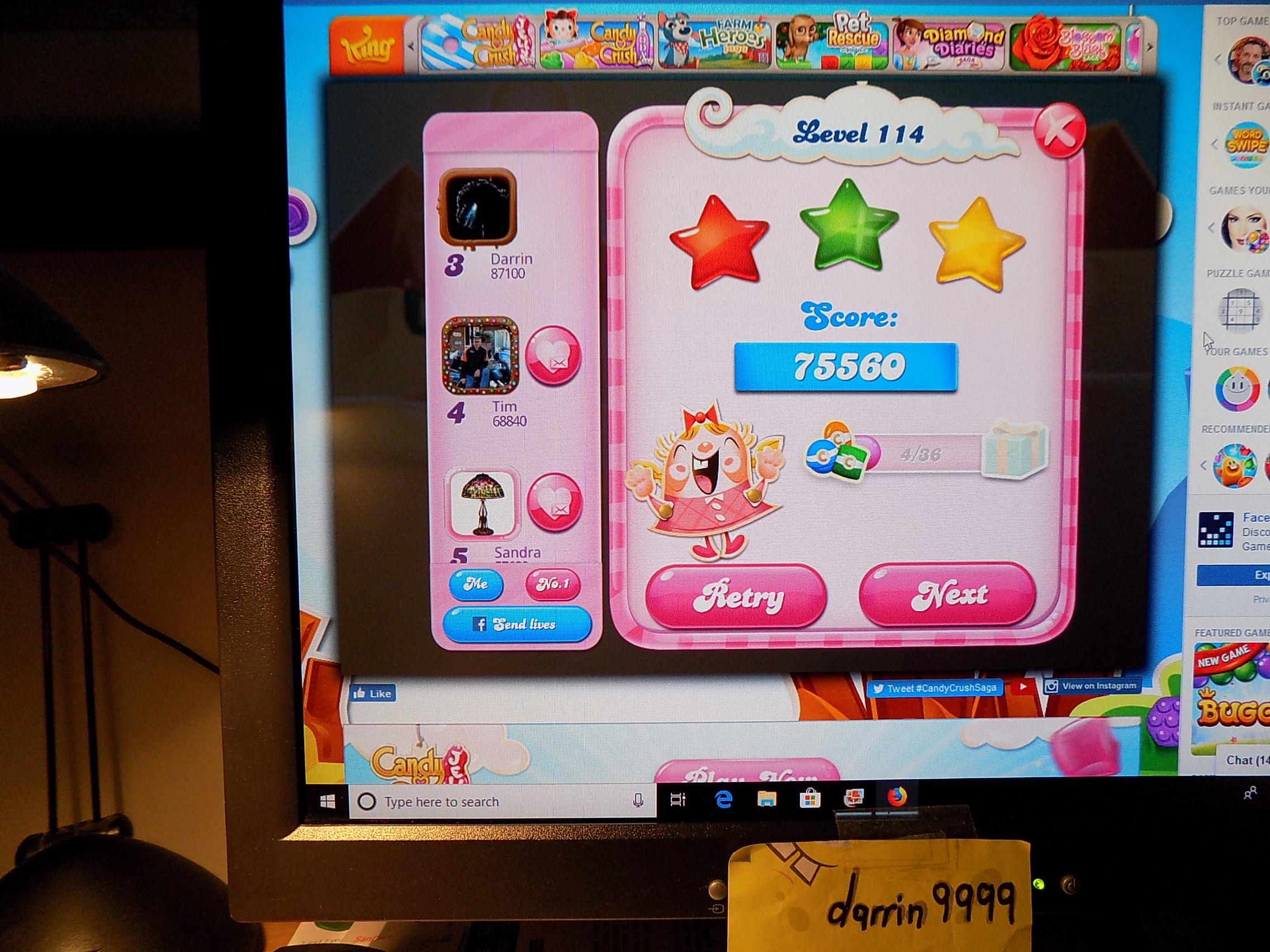darrin9999: Candy Crush Saga: Level 114 (Web) 75,560 points on 2019-07-15 07:56:56