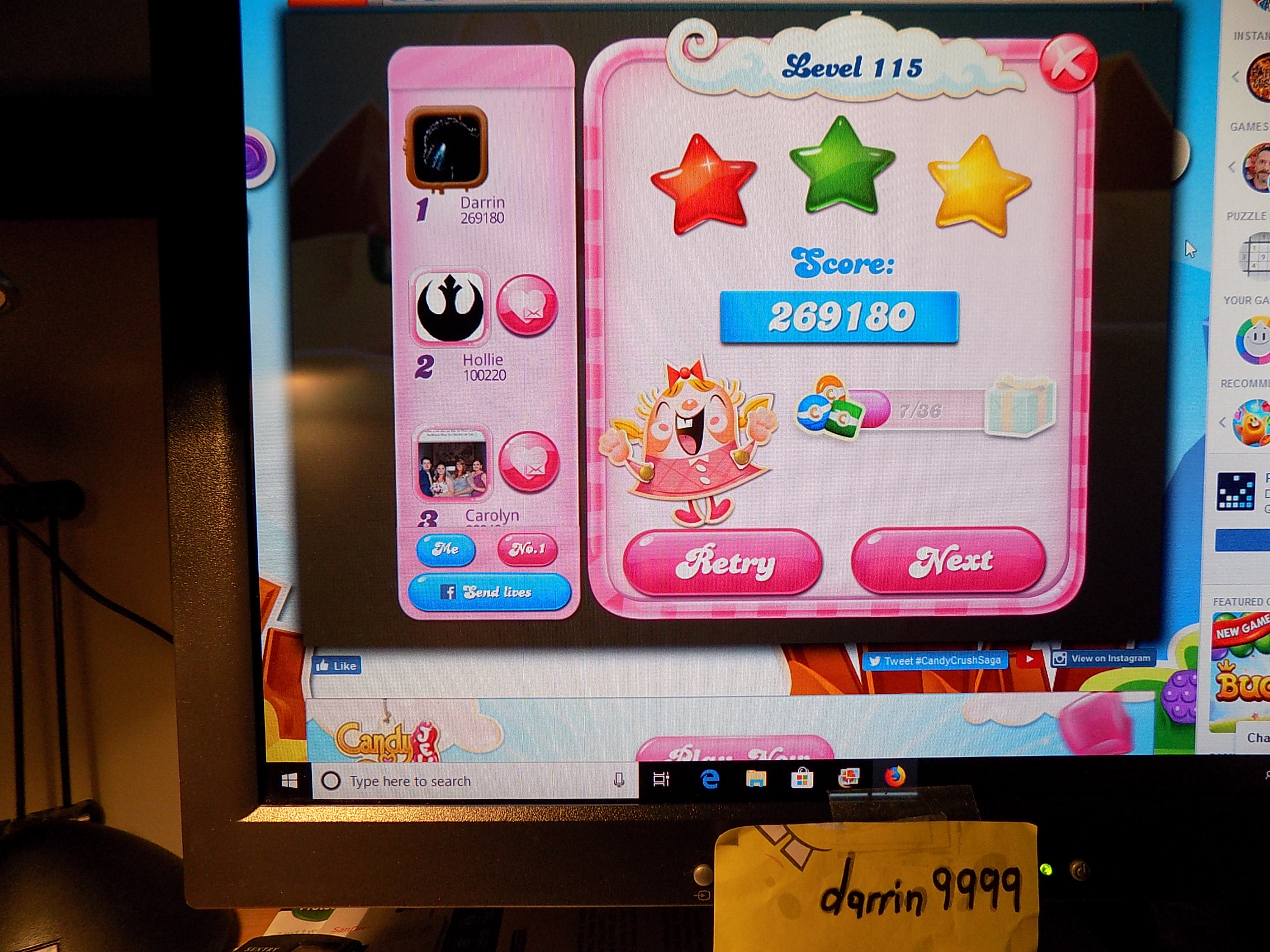 darrin9999: Candy Crush Saga: Level 115 (Web) 269,180 points on 2019-07-15 07:57:53