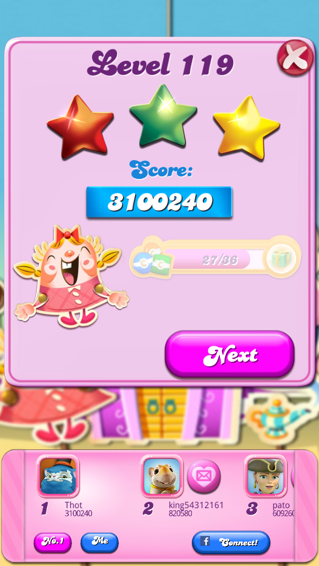 aluna2020: Candy Crush Saga: Level 119 (iOS) 3,100,240 points on 2015-07-19 07:58:13