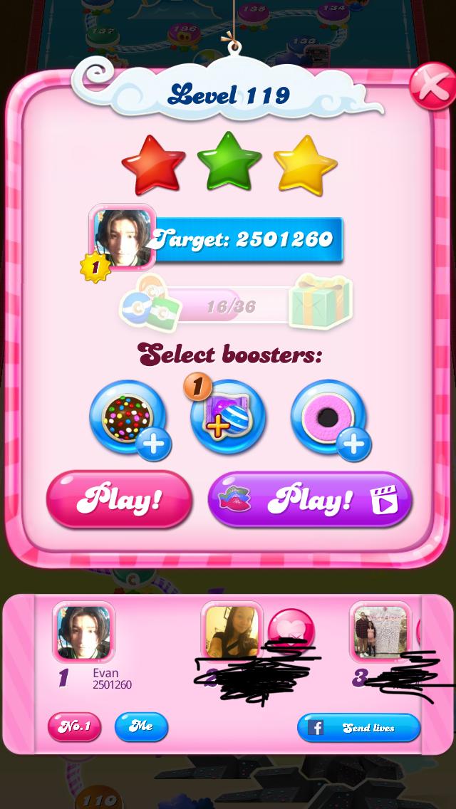 OOG: Candy Crush Saga: Level 119 (iOS) 2,501,260 points on 2018-02-10 15:47:21