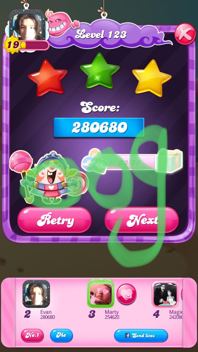OOG: Candy Crush Saga: Level 123 (iOS) 280,680 points on 2018-04-07 19:47:43