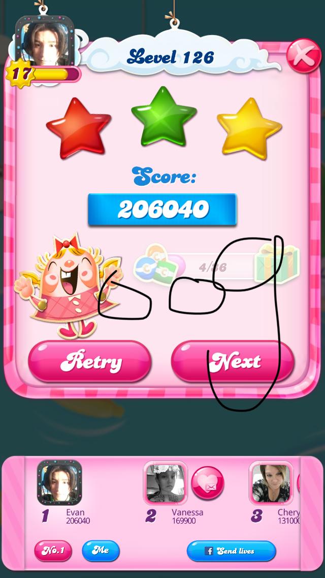 OOG: Candy Crush Saga: Level 126 (iOS) 206,040 points on 2018-03-27 12:21:52
