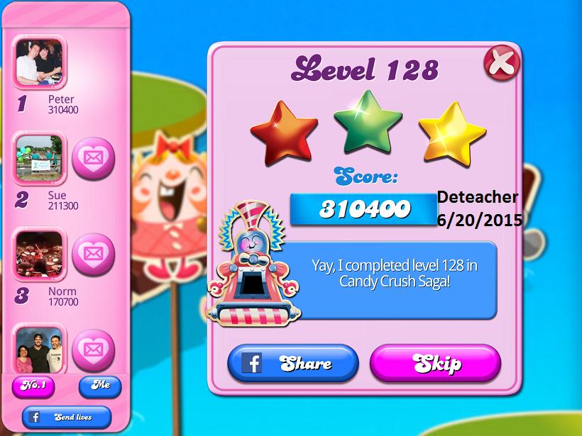 Deteacher: Candy Crush Saga: Level 128 (iOS) 310,400 points on 2015-06-20 16:08:39