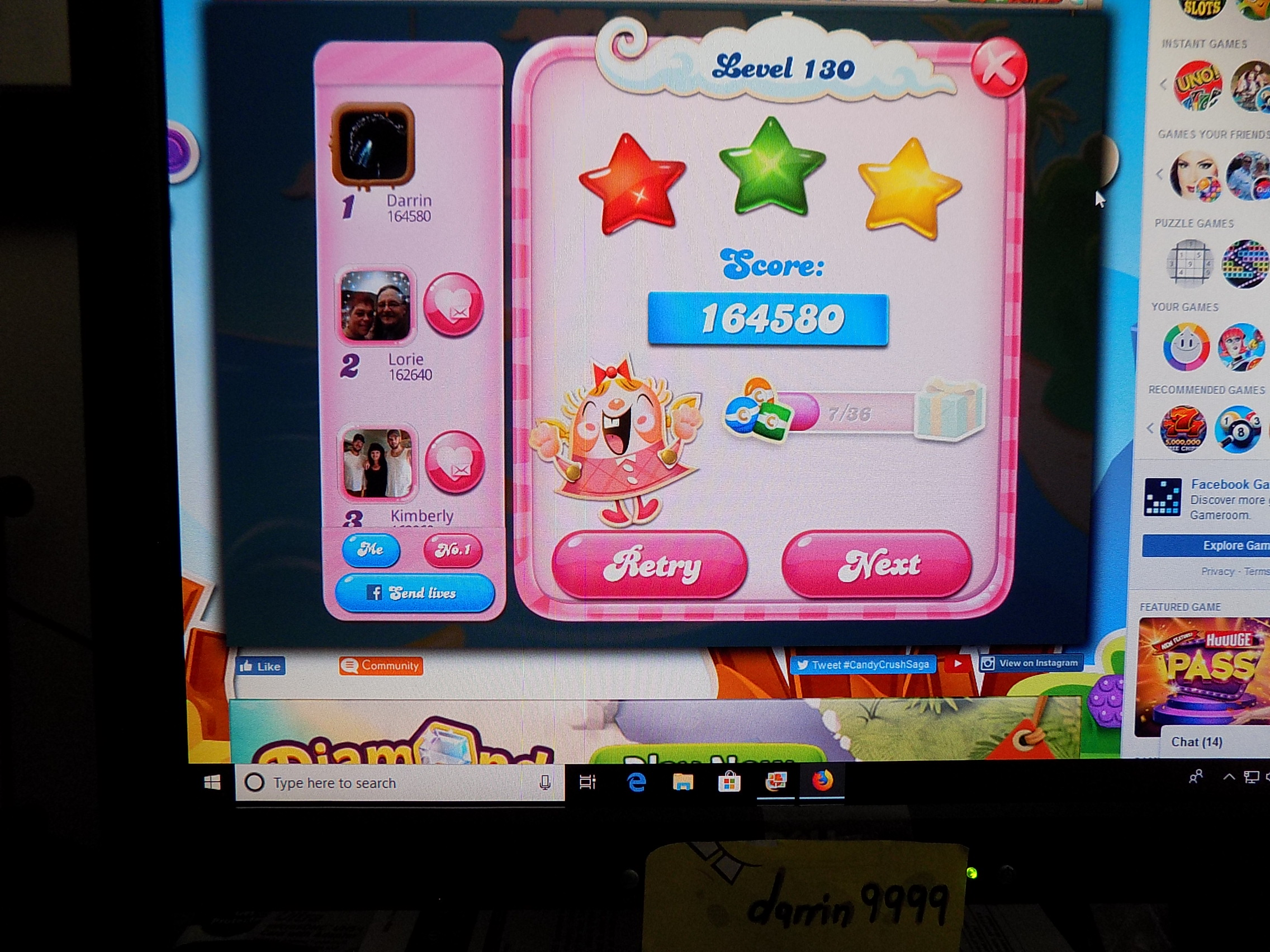 darrin9999: Candy Crush Saga: Level 130 (Web) 164,580 points on 2019-08-12 06:54:49
