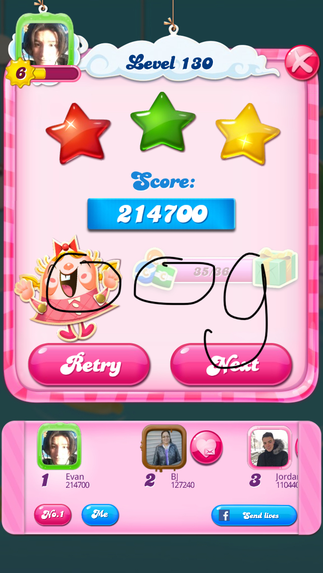 Candy Crush Saga: Level 130 214,700 points
