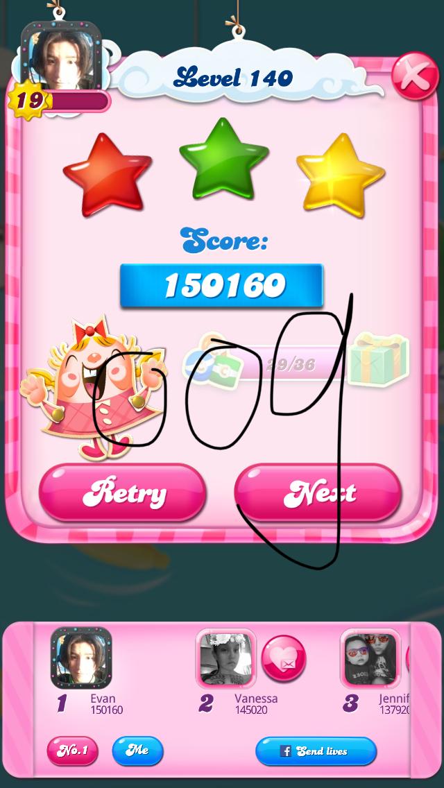 OOG: Candy Crush Saga: Level 140 (iOS) 150,160 points on 2018-04-03 15:56:24