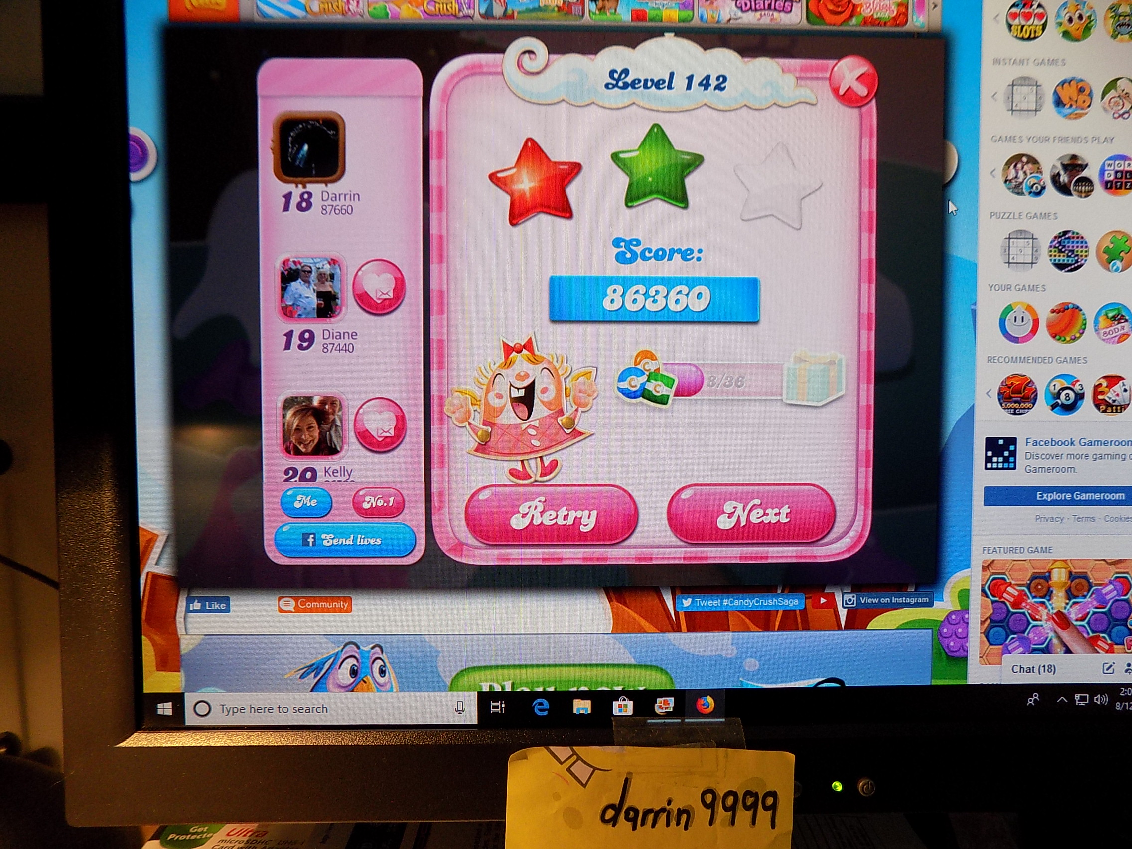 darrin9999: Candy Crush Saga: Level 142 (Web) 86,360 points on 2019-08-19 15:06:29