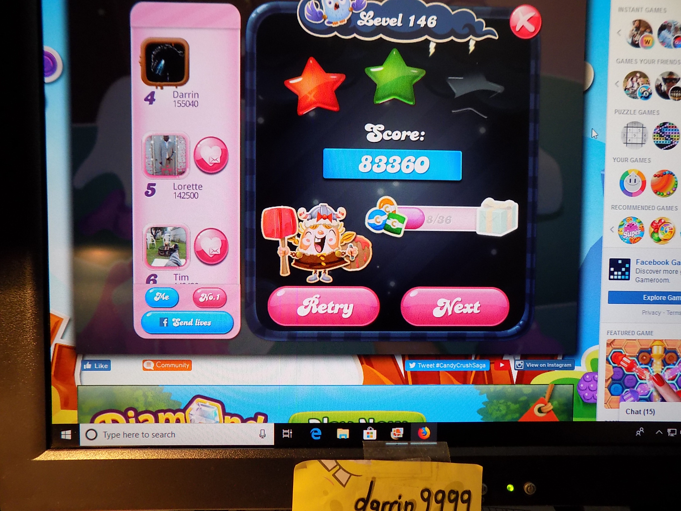 darrin9999: Candy Crush Saga: Level 146 (Web) 83,360 points on 2019-08-19 15:10:33