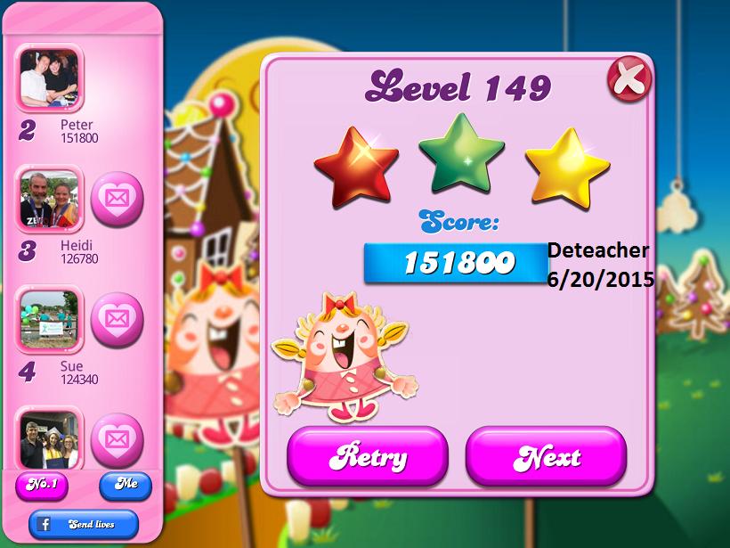 Deteacher: Candy Crush Saga: Level 149 (iOS) 151,800 points on 2015-06-20 20:58:58