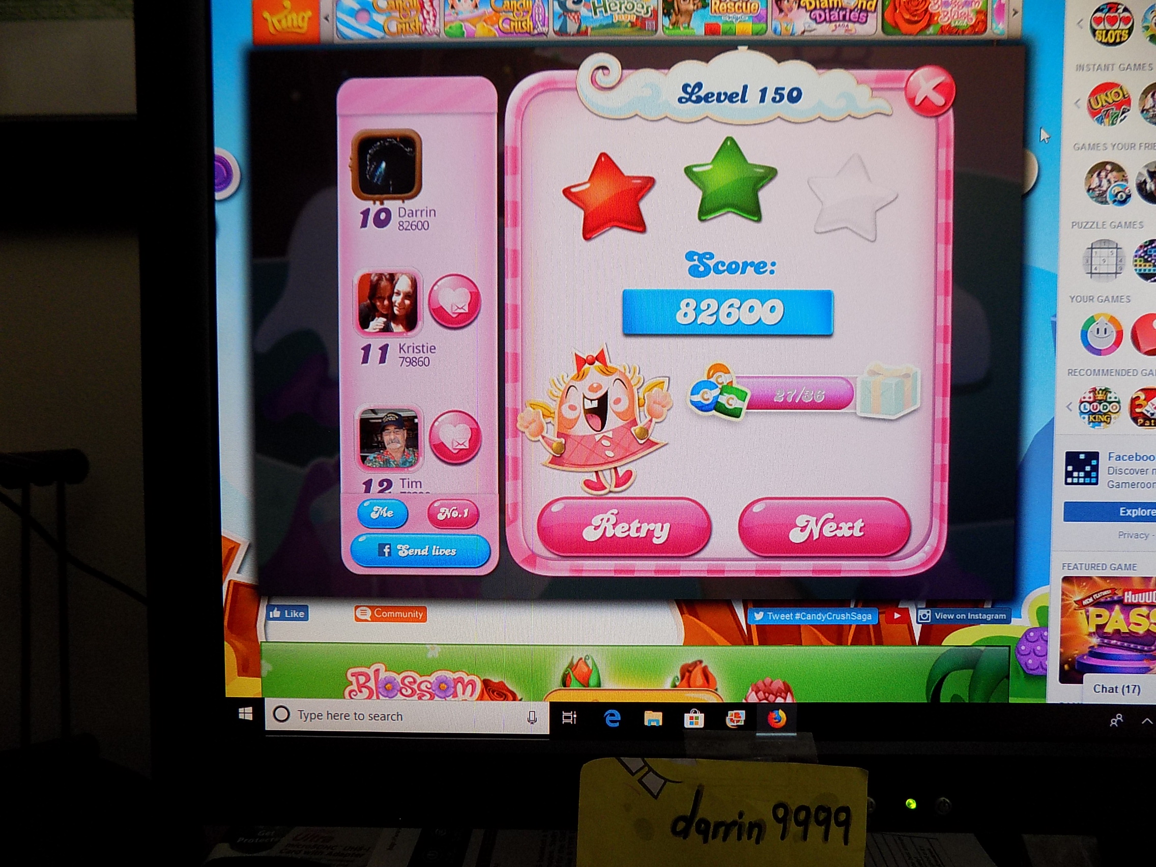 darrin9999: Candy Crush Saga: Level 150 (Web) 82,600 points on 2019-08-19 15:15:04
