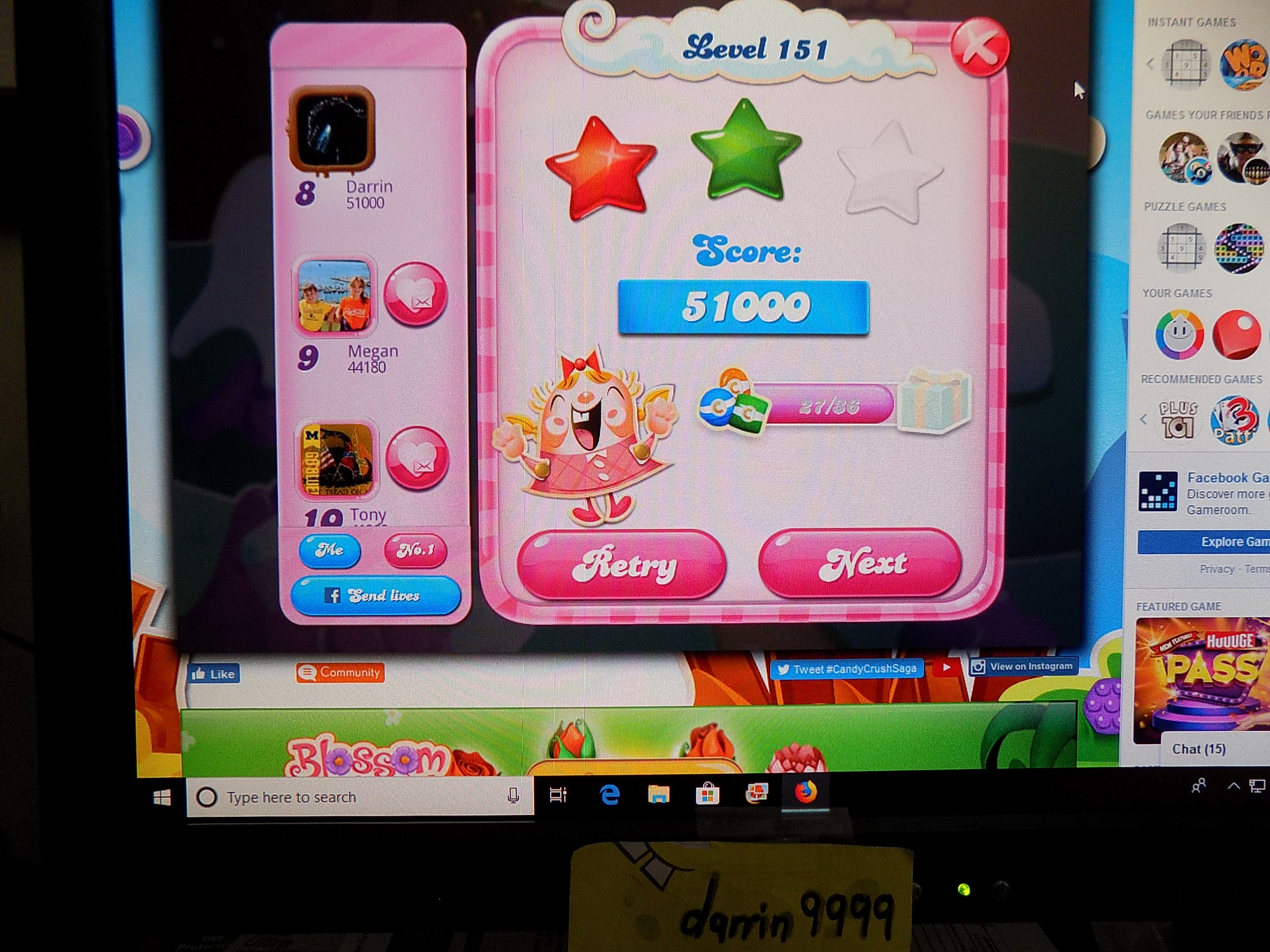 darrin9999: Candy Crush Saga: Level 151 (Web) 51,000 points on 2019-09-06 16:29:55