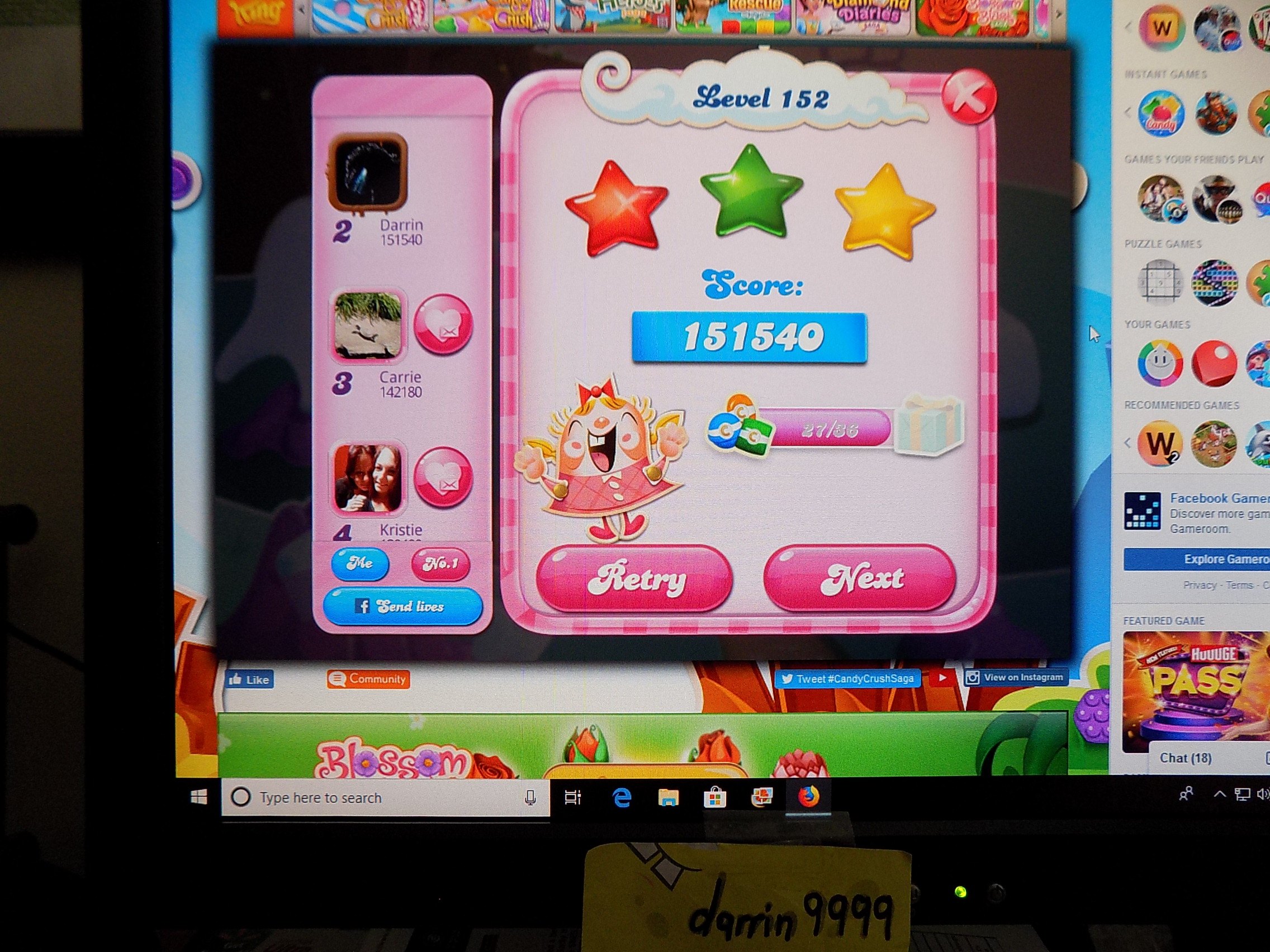 darrin9999: Candy Crush Saga: Level 152 (Web) 151,540 points on 2019-09-06 16:31:07