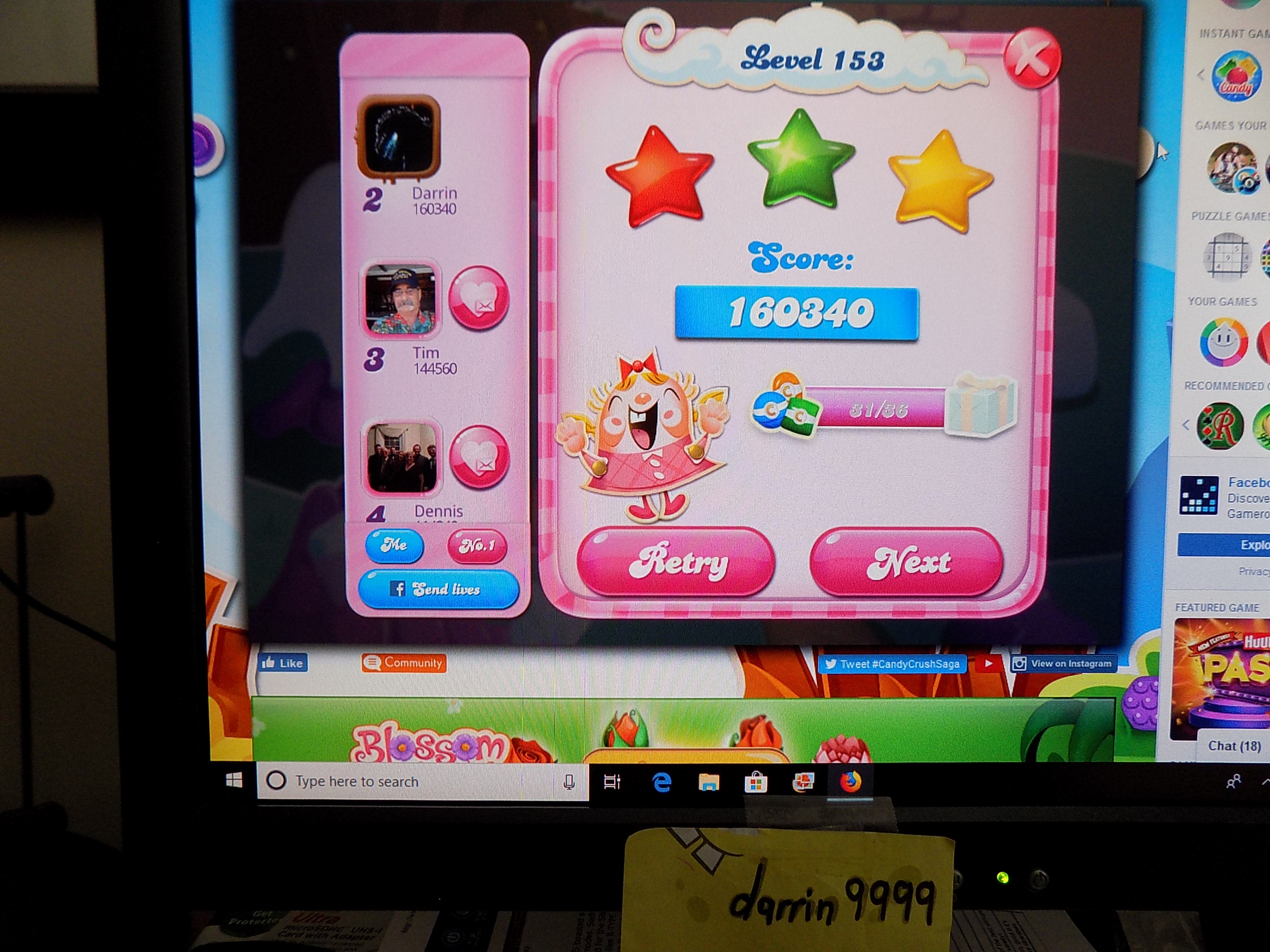darrin9999: Candy Crush Saga: Level 153 (Web) 160,340 points on 2019-09-06 16:32:09