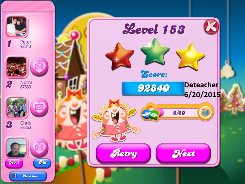 Deteacher: Candy Crush Saga: Level 153 (iOS) 92,840 points on 2015-06-20 15:30:10