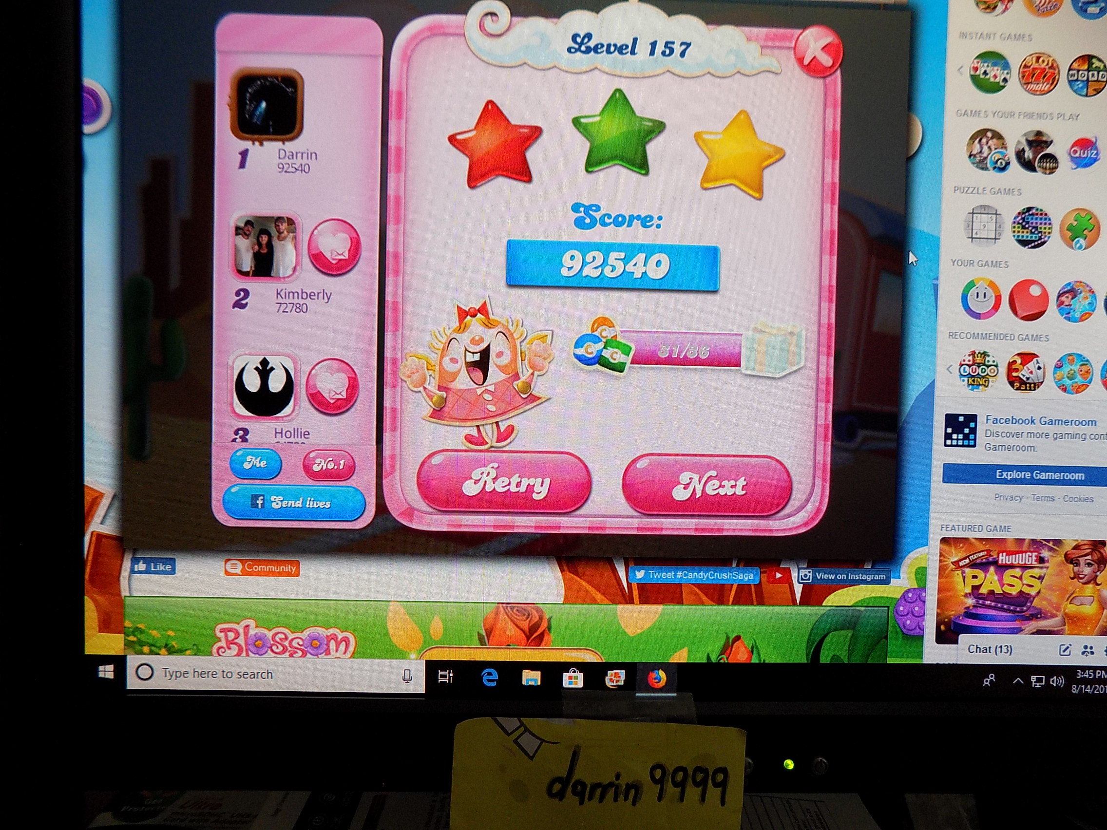 darrin9999: Candy Crush Saga: Level 157 (Web) 92,540 points on 2019-09-06 16:35:57