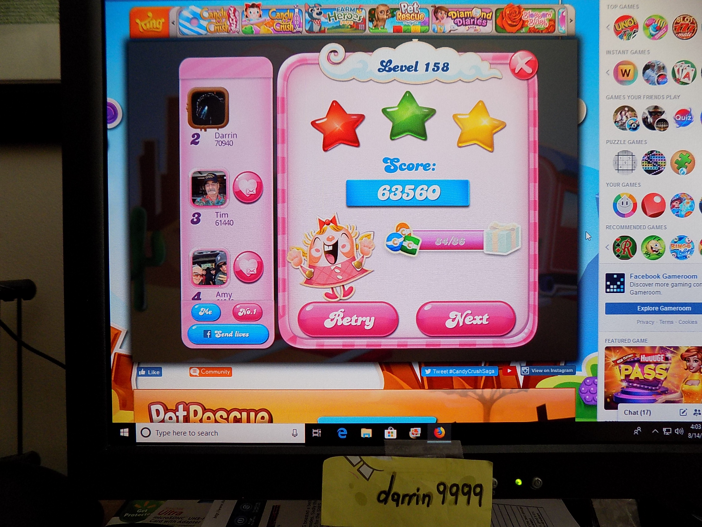 darrin9999: Candy Crush Saga: Level 158 (Web) 63,560 points on 2019-09-06 16:36:53