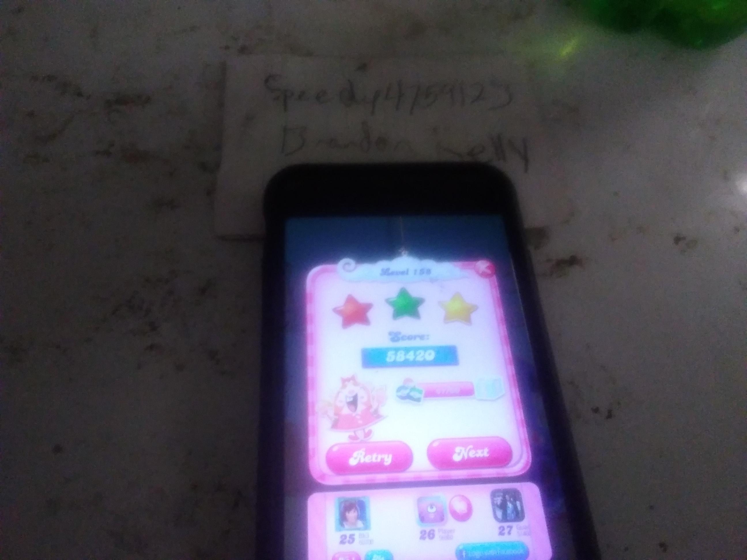 speedy4759123: Candy Crush Saga: Level 158 (iOS) 58,420 points on 2019-08-13 11:09:10