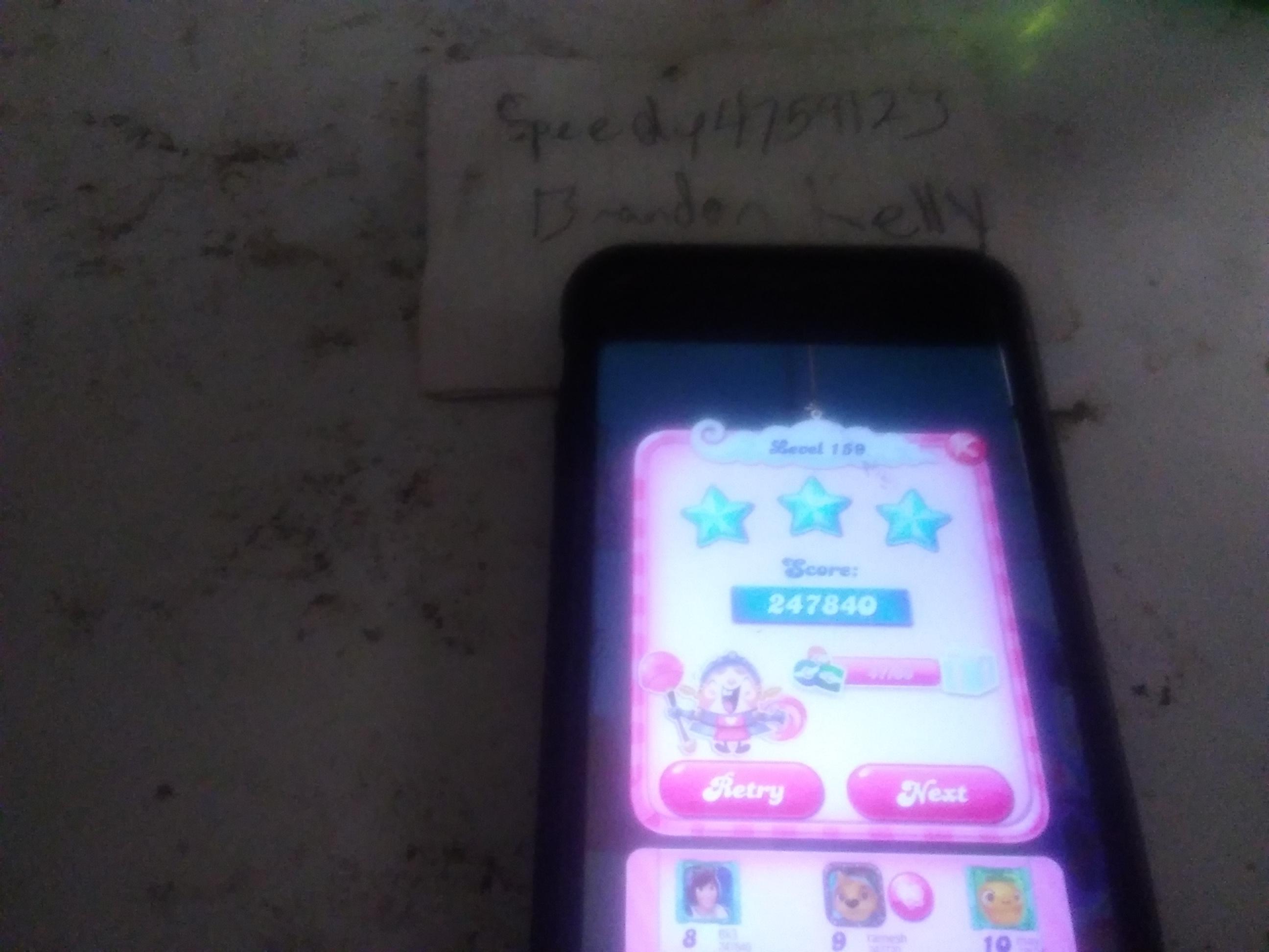 speedy4759123: Candy Crush Saga: Level 159 (iOS) 247,840 points on 2019-08-13 11:13:01