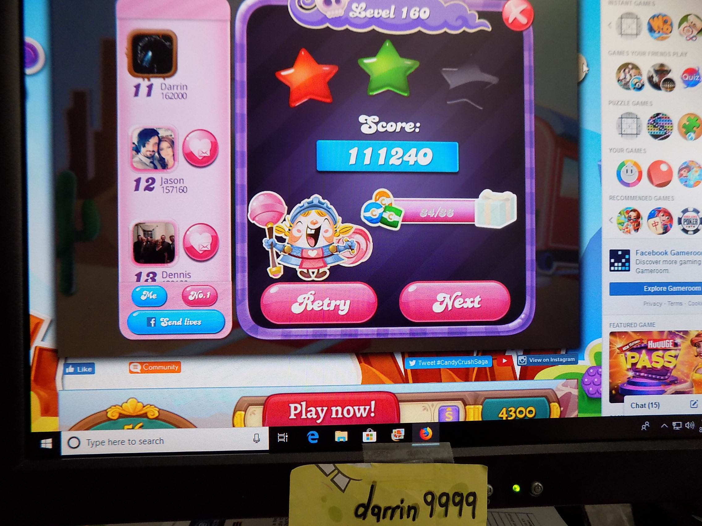 darrin9999: Candy Crush Saga: Level 160 (Web) 111,240 points on 2019-09-06 16:38:40