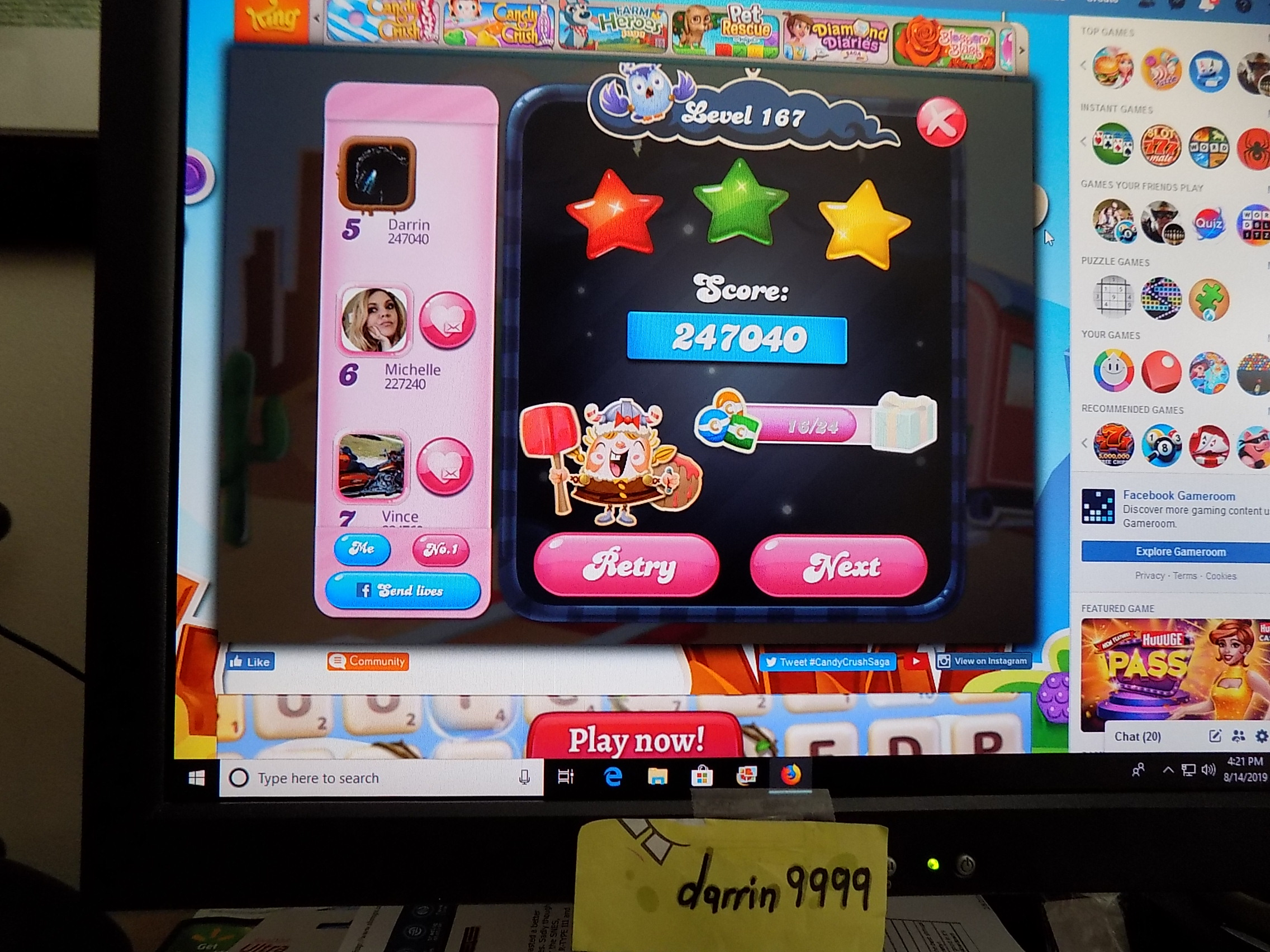 darrin9999: Candy Crush Saga: Level 167 (Web) 247,040 points on 2019-09-24 16:09:51
