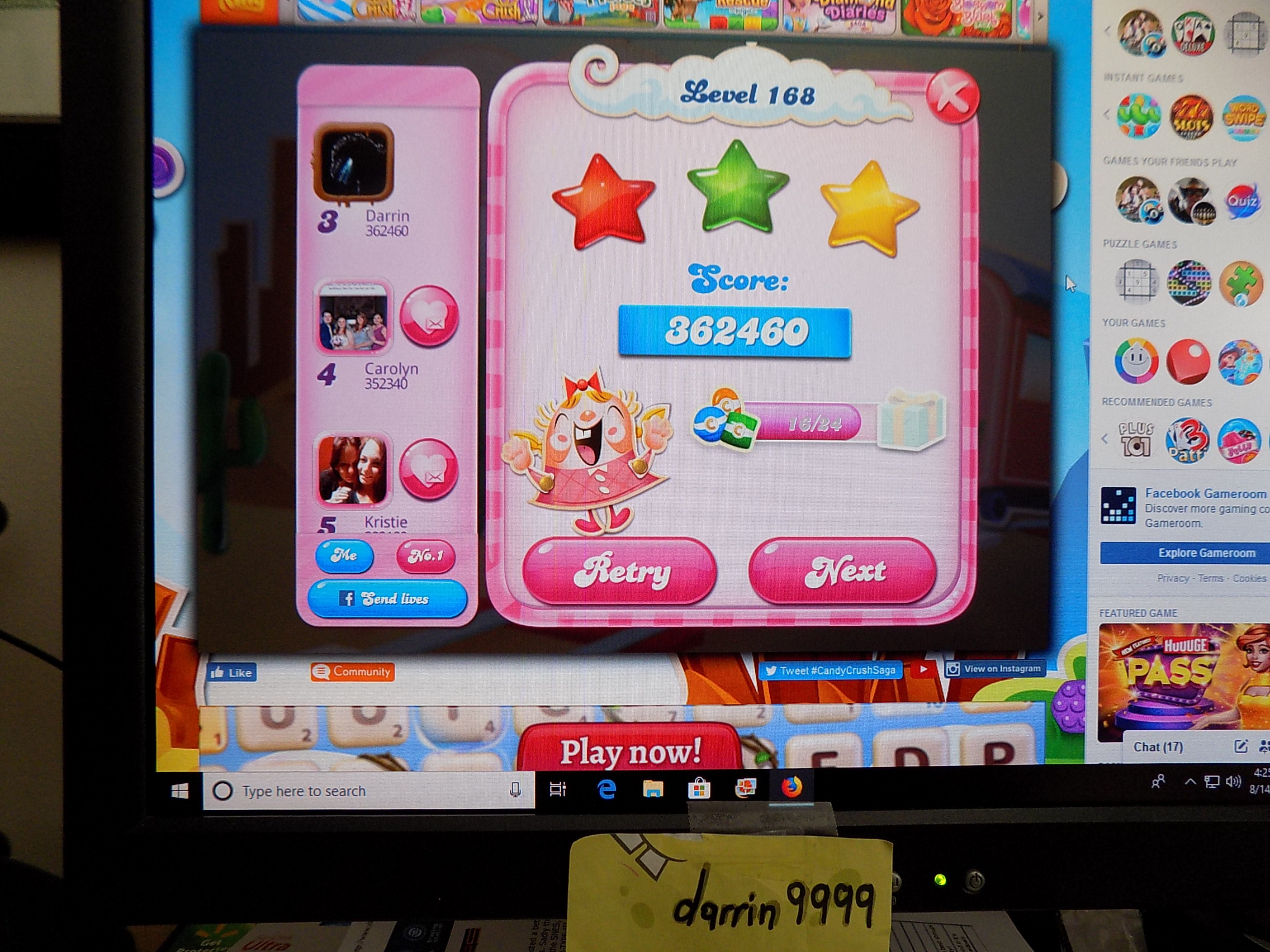darrin9999: Candy Crush Saga: Level 168 (Web) 362,460 points on 2019-09-24 16:10:55