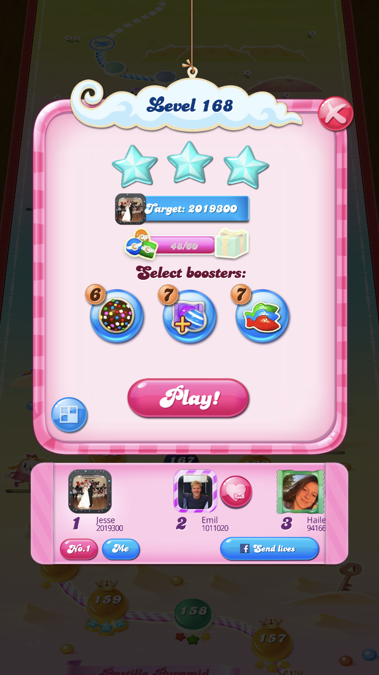Thatstrippy: Candy Crush Saga: Level 168 (iOS) 2,019,300 points on 2019-09-11 01:20:06