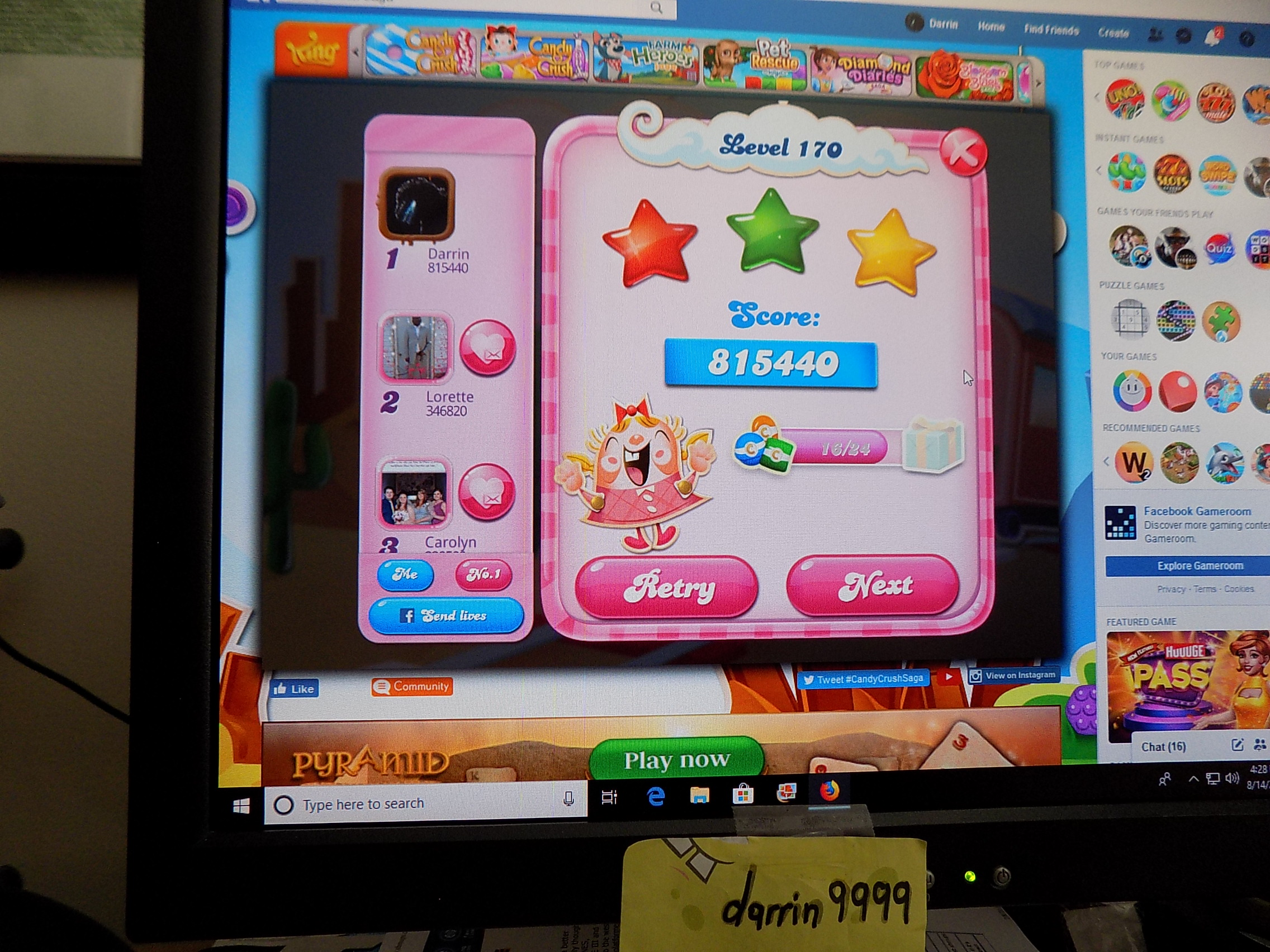 darrin9999: Candy Crush Saga: Level 170 (Web) 815,440 points on 2019-09-24 16:14:24