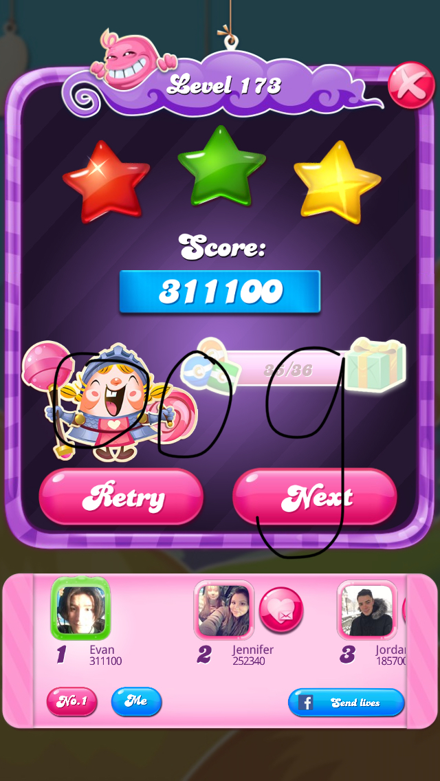 OOG: Candy Crush Saga: Level 173 (iOS) 311,100 points on 2018-02-13 18:25:06