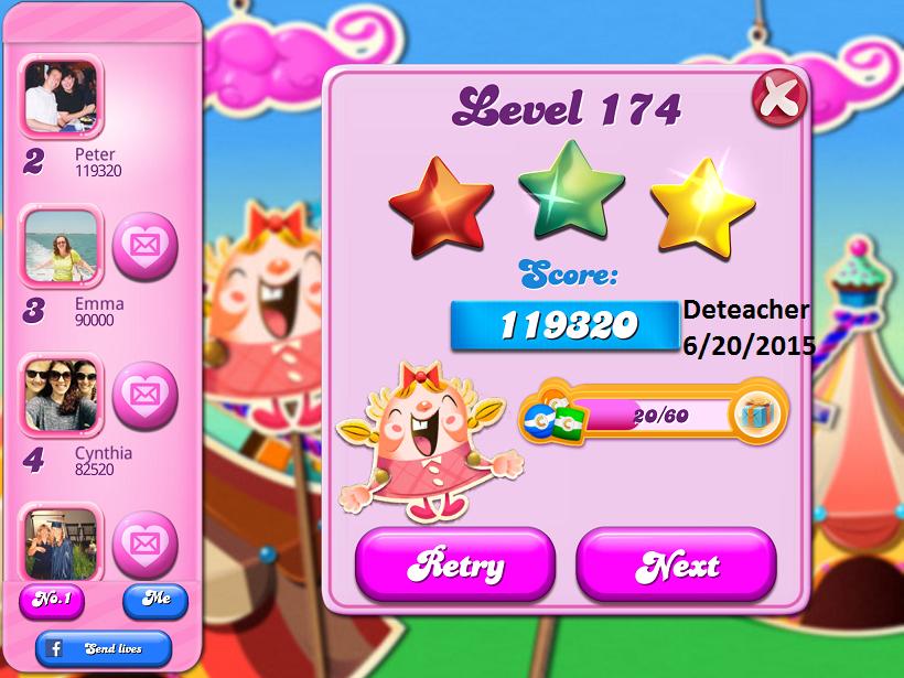 Deteacher: Candy Crush Saga: Level 174 (iOS) 119,320 points on 2015-06-20 15:31:55
