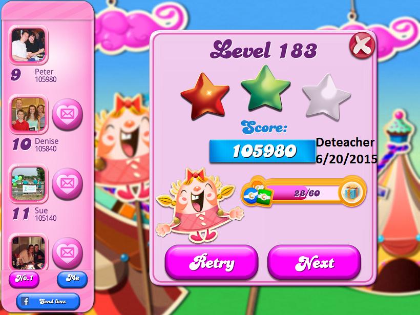 Deteacher: Candy Crush Saga: Level 183 (iOS) 105,980 points on 2015-06-20 15:33:26