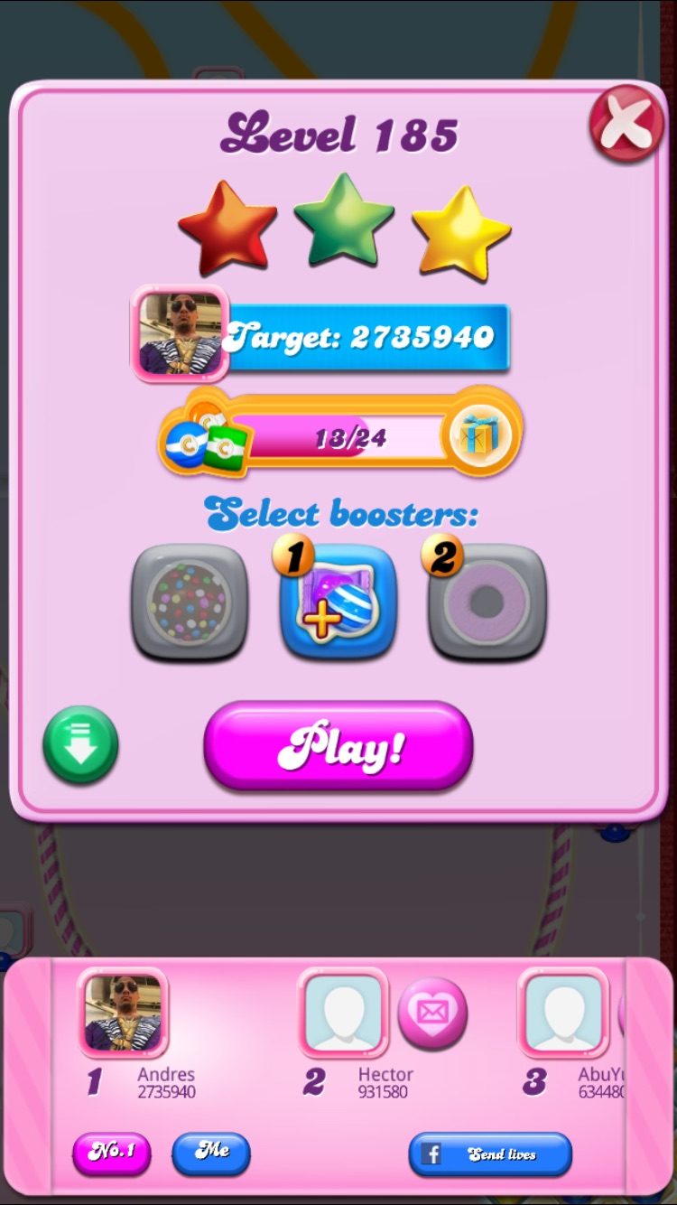Ssglebron17: Candy Crush Saga: Level 185 (iOS) 2,735,940 points on 2015-07-10 02:14:42
