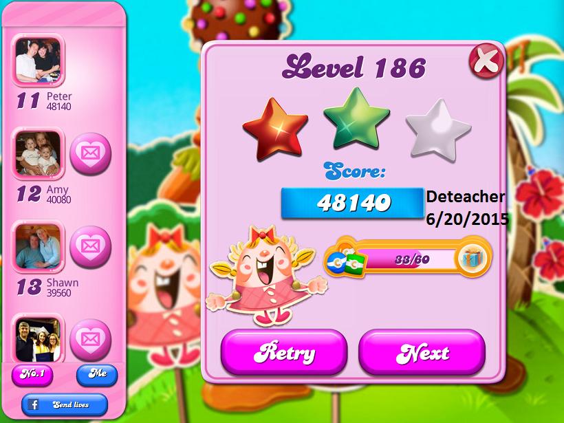 Deteacher: Candy Crush Saga: Level 186 (iOS) 48,140 points on 2015-06-20 15:34:52