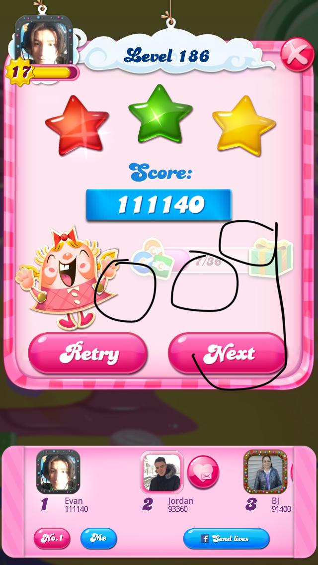 OOG: Candy Crush Saga: Level 186 (iOS) 111,140 points on 2018-03-28 14:59:42